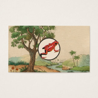 Red Poison Dart Frog Natural Habitat Illustration Business Card
