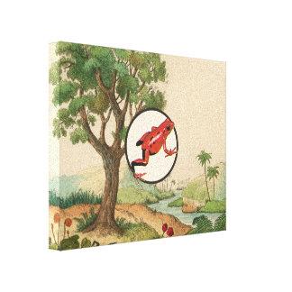 Red Poison Dart Frog Natural Habitat Illustration Canvas Print