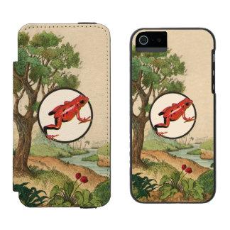 Red Poison Dart Frog Natural Habitat Illustration iPhone SE/5/5s Wallet Case
