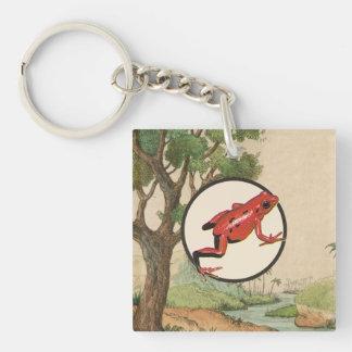 Red Poison Dart Frog Natural Habitat Illustration Keychain