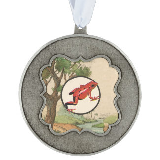 Red Poison Dart Frog Natural Habitat Illustration Scalloped Pewter Christmas Ornament