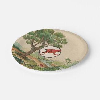 Red Poison Dart Frog Natural Habitat Illustration Paper Plate
