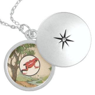 Red Poison Dart Frog Natural Habitat Illustration Round Locket Necklace