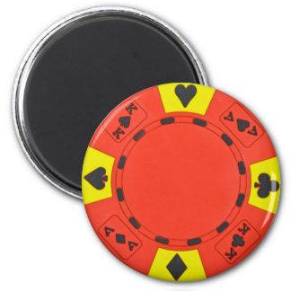 Red Poker Chip 2 Inch Round Magnet
