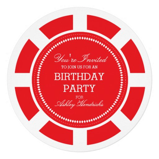 Red Poker Chip Birthday Party Invitation (front side)