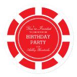 "Red Poker Chip Birthday Party Invitation 5.25"" Square Invitation Card"