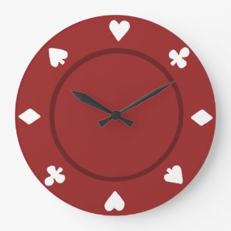 Red Poker Chip Clock