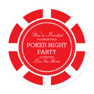 Red Poker Chip Game Night Party Invitation