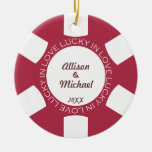 Red poker chip lucky in love couple photo vegas ceramic ornament