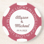 Red poker chip lucky in love wedding anniversary beverage coaster