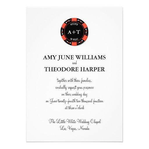 Red Poker Chip Monogram Vegas Wedding Invitation