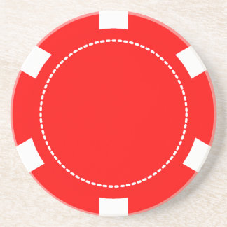Red Poker Chip Sandstone Coaster