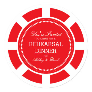 Red Poker Chip Wedding Rehearsal Invitation