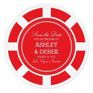 Red Poker Chip Wedding Save the Date Personalized Invite