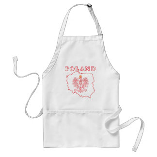 Red Poland Map With Eagle Adult Apron