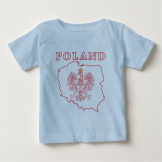 Red Poland Map With Eagle Baby T-Shirt