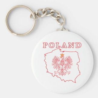 Red Poland Map With Eagle Keychain