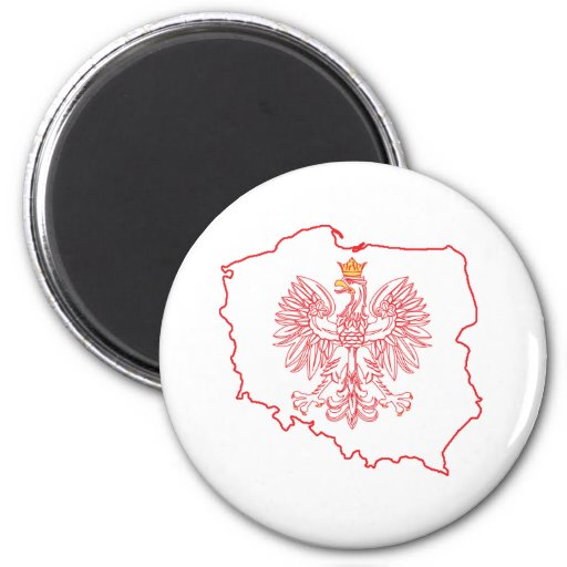 Red Polish Map With Eagle 2 Inch Round Magnet