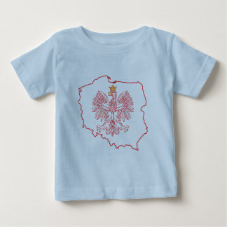 Red Polish Map With Eagle Baby T-Shirt