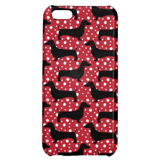 Red Polka Dachshunds iPhone 5C Covers