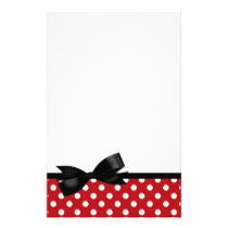 Red Polka Dot and Black Bow Stationery