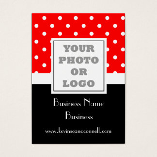 Red polka dot and logo business card