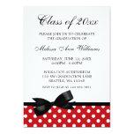 Red Polka Dot Black Bow Graduation Announcement