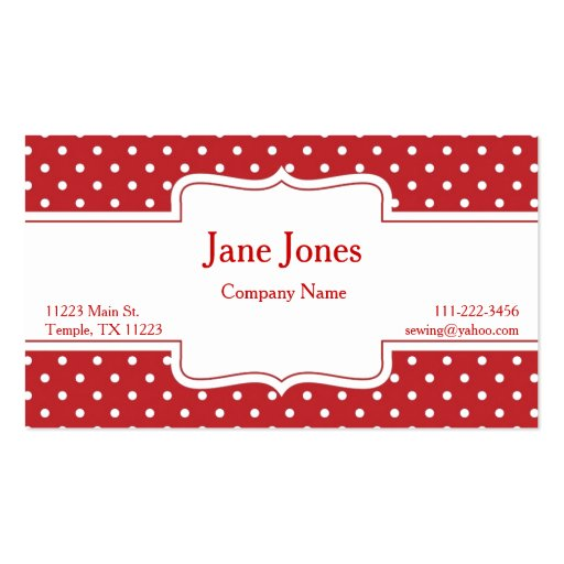Red polka dot business card zazzle for Polka dot business card templates free