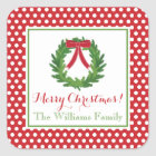 Red Polka Dot, Christmas Wreath Sticker
