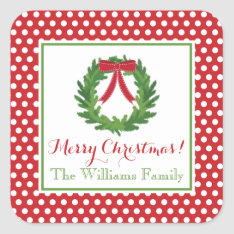 Red Polka Dot, Christmas Wreath Sticker at Zazzle