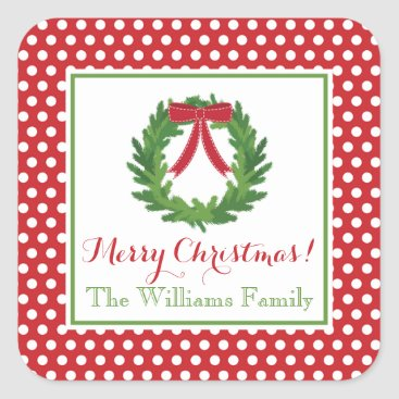 Christmas Themed Red Polka Dot, Christmas Wreath Sticker