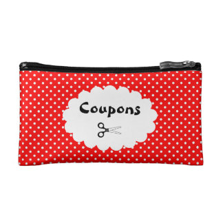 Red Polka Dot Coupon Organizer Cosmetic Bag