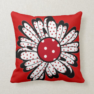 Red Polka Dot Daisy Throw Pillow