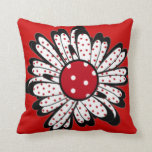 Red Polka Dot Daisy Throw Pillows