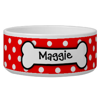 Red Polka Dot Express Personalized Dog Bowl