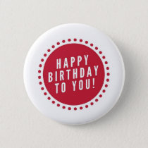 Red Polka Dot Happy Birthday Button
