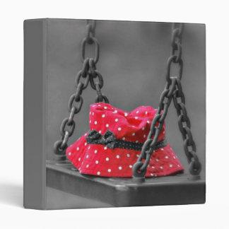 Red Polka Dot Hat Forgotten on a Swing 3 Ring Binder