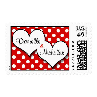 Red Polka Dot Joined Hearts Custom Postage