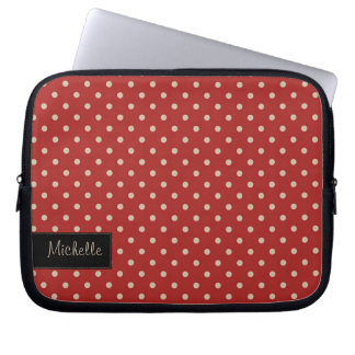 Red Polka Dot Laptop Sleeve with Your Name