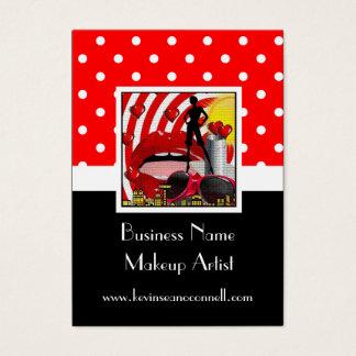 Red polka dot makeup artist business card