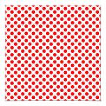 "Red Polka Dot Pattern 5.25"" Square Invitation Card"