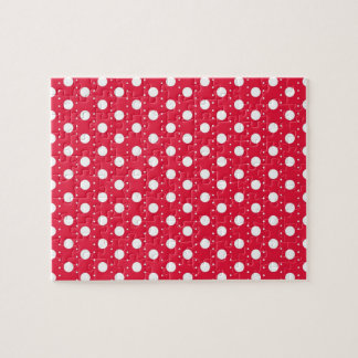 Red Polka Dot Pattern Jigsaw Puzzle