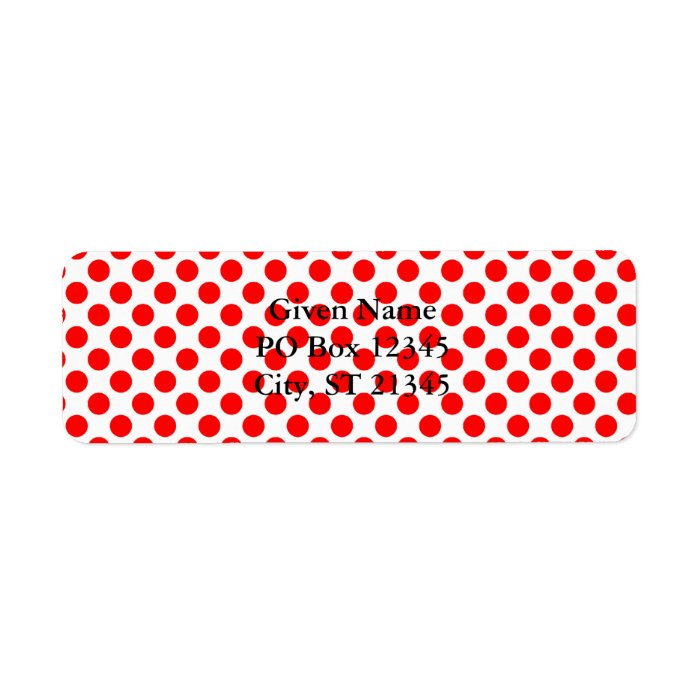 Red Polka Dot Pattern Label