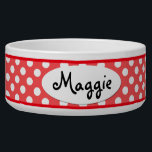 "Red Polka Dot Personalized Ceramic Dog Bowl<br><div class=""desc"">This custom Red and White Polka Dots Personalized Ceramic Dog Bowl is a cute choice for a large dog. This cool and unique polkadot dog bowl makes a charming gift for your very best friend.</div>"