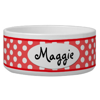 Red Polka Dot Personalized Ceramic Dog Bowl