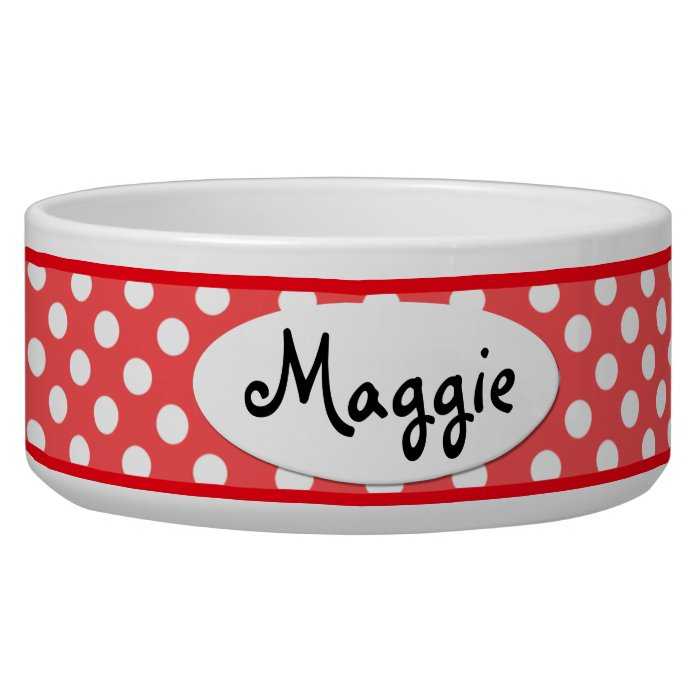 Red Polka Dot Personalized Ceramic Dog Bowl Zazzle