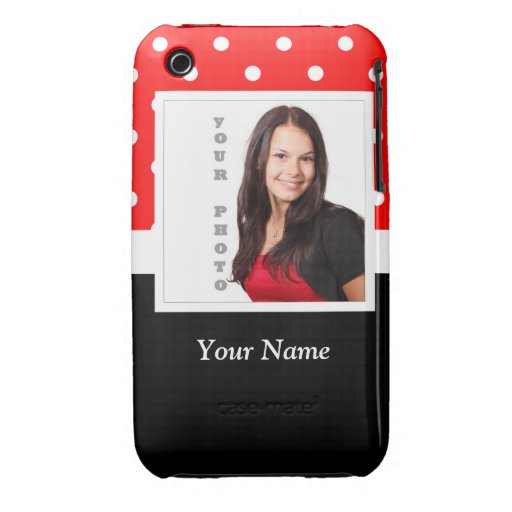 Red Polka dot photo template Case-Mate iPhone 3 Case