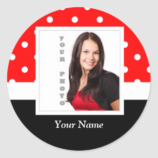 Red Polka dot photo template Classic Round Sticker