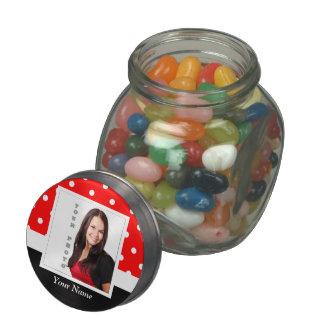 Red Polka dot photo template Glass Jars