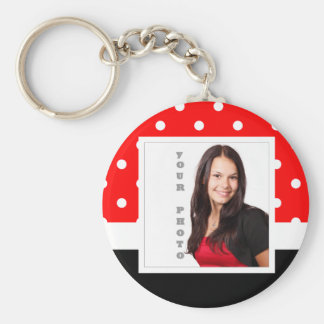 Red Polka dot photo template Keychain